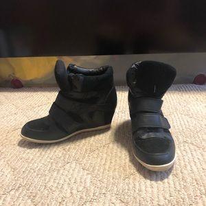 Forever 21 Black Wedge Sneakers